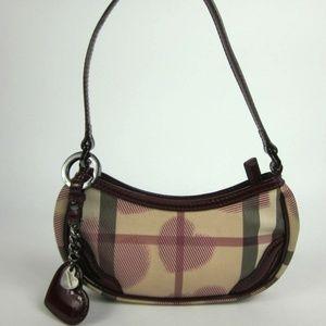 BURBERRY: Raspberry Leather & Heart Check Handbag